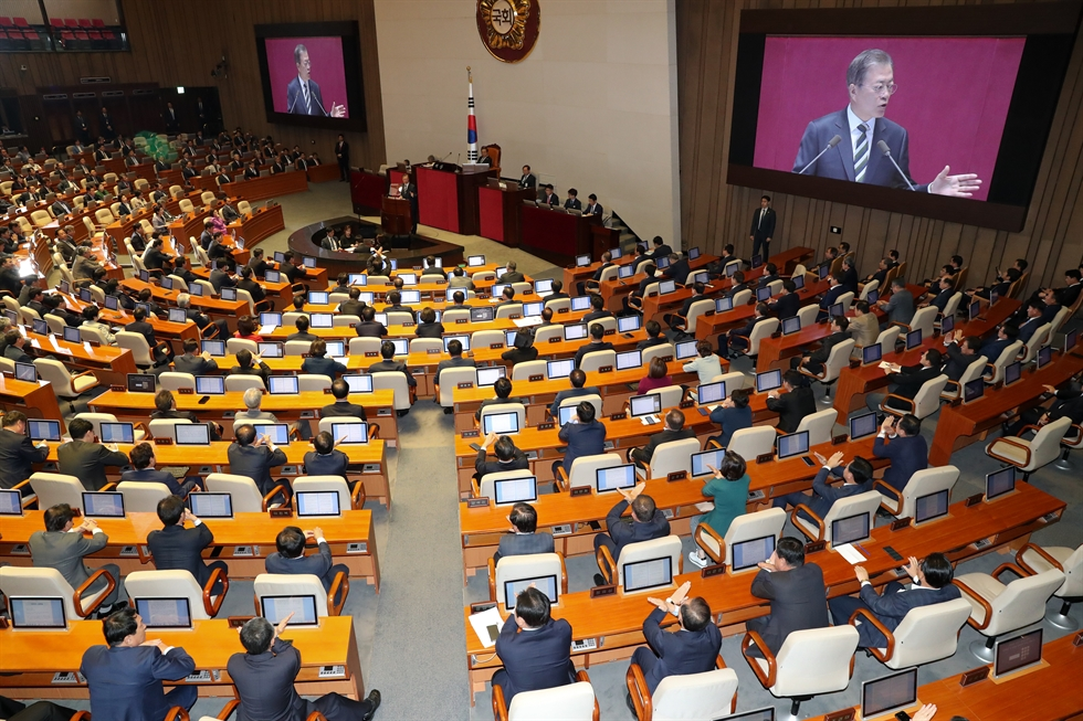 President Moon Jae-in gives a speech at the National Assembly, Tuesday. Yonhap