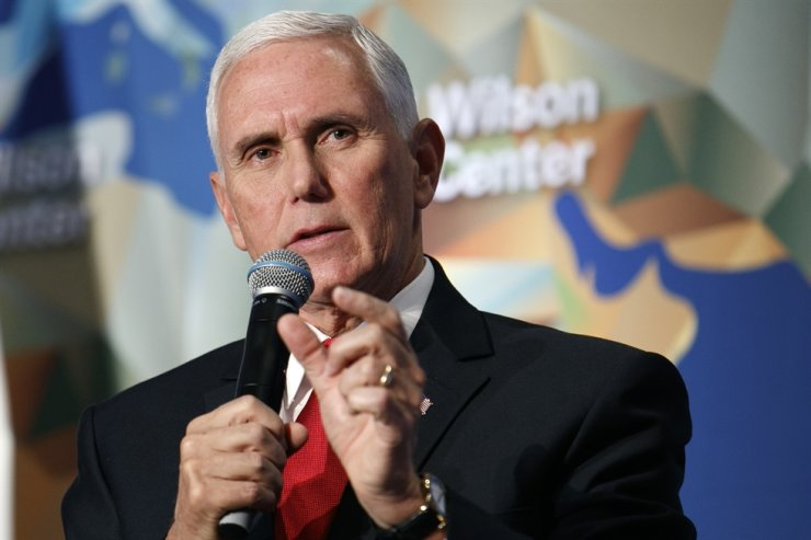 Vice President Mike Pence discusses U.S. and China relations Thursday, Oct. 24, 2019, at the Wilson Center's inaugural Frederic V. Malek Public Service Leadership Lecture, in Washington. AP-Yonhap