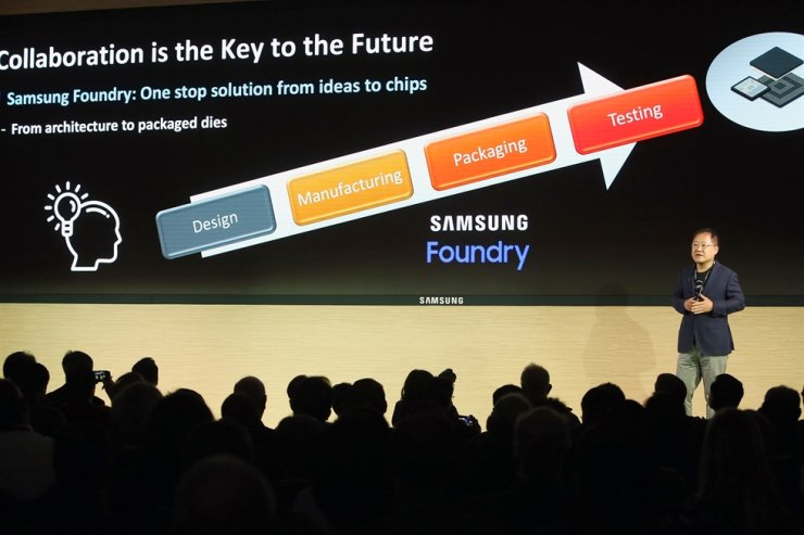 Park Jae-hong, executive vice president of foundry design platform development at Samsung Electronics, speaks during the Samsung Advanced Foundry Ecosystem Forum at Samsung Device Solutions America office in San Jose, Calif., Thursday. / Courtesy of Samsung Electronics