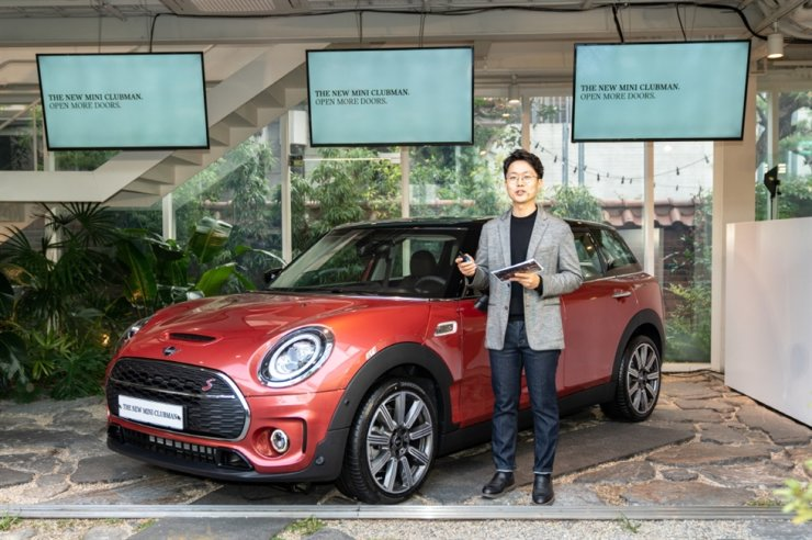 MINI Korea product manager Ye Sung-jun speaks during a press conference for unveiling the facelifted MINI Clubman model in Seoul, Monday. / Courtesy of BMW Group Korea