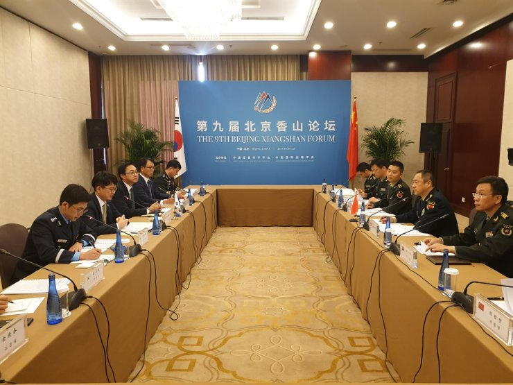 Vice Defense Minister Park Jae-min, second from left, hold the 5th Strategic Defense Dialogue in Beijing, Oct. 21, with his Chinese counterpart Lt. Gen. Shao Yuanming, second from right, deputy chief of the Joint Staff Department of the Central Military Commission of China's People's Liberation Army. Courtesy of Ministry of National Defense