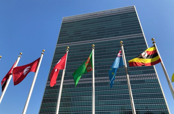 In this Sept. 28, 2019, file photo, flags fly outside the United Nations headquarters during the 74th session of the United Nations General Assembly. Secretary-General Antonio Guterres said the United Nations is facing its 'worst cash crisis' in nearly a decade because 64 of its 193 members have not paid their annual dues, including the United States, the largest contributor. AP