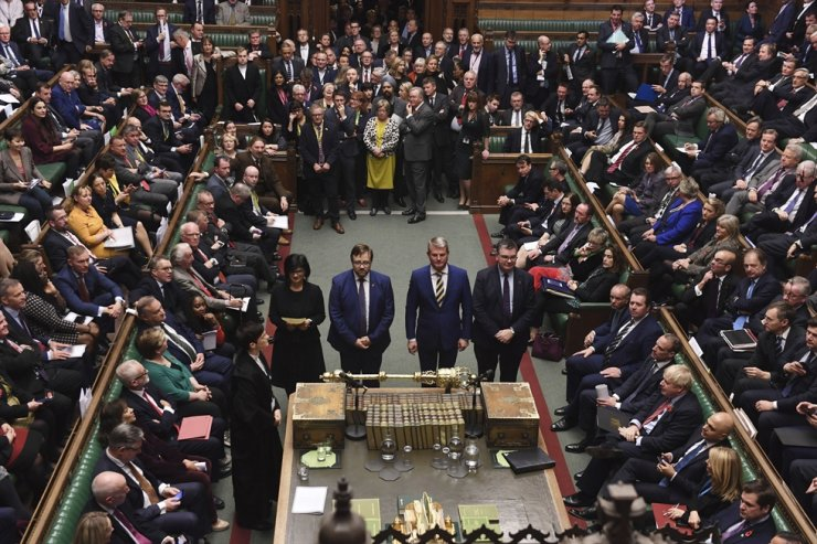 In this photo provided by the U.K. Parliament, British Members of Parliament vote in favour of the Creasy amendment to the Election Bill, in the House of Commons, London, Tuesday, Oct. 29, 2019. AP-Yonhap