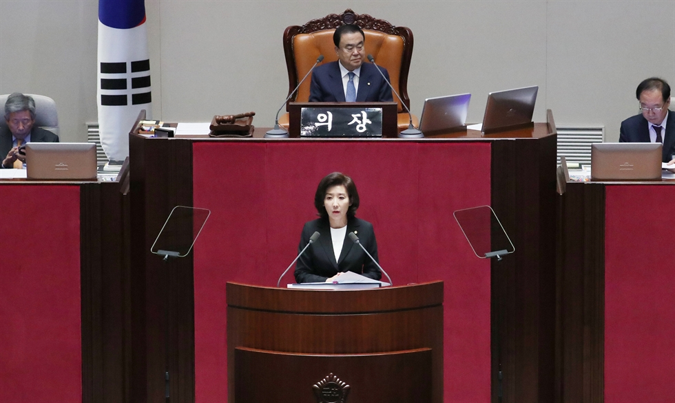 National Assembly Speaker Moon Hee-sang begins a plenary session at the National Assembly, Tuesday. Yonhap