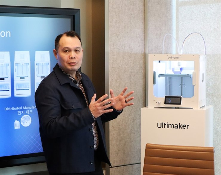Benjamin Tan, vice president of Asia Pacific at Dutch 3D printer manufacturer Ultimaker, speaks during a press conference at Parnas Tower in Seoul, Thursday. / Courtesy of Ultimaker