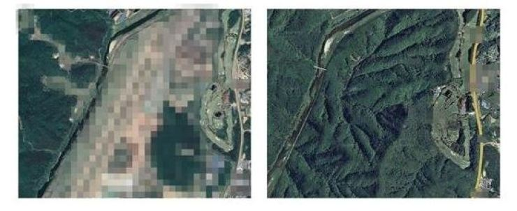 Google Maps' satellite imagery, left, shows one of the nation's military bases that has been blurred by Rep. Park Kwang-on's office, while the image for the same location, right, is censored in Naver's mapping service. / Courtesy of Rep. Park Kwang-on