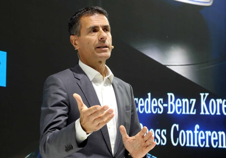 Mercedes-Benz Korea CEO Dimitris Psillakis speaks during the opening ceremony of the brand's EQ Future pavilion in Gangnam-gu, Seoul, Tuesday. Courtesy of Mercedes-Benz Korea