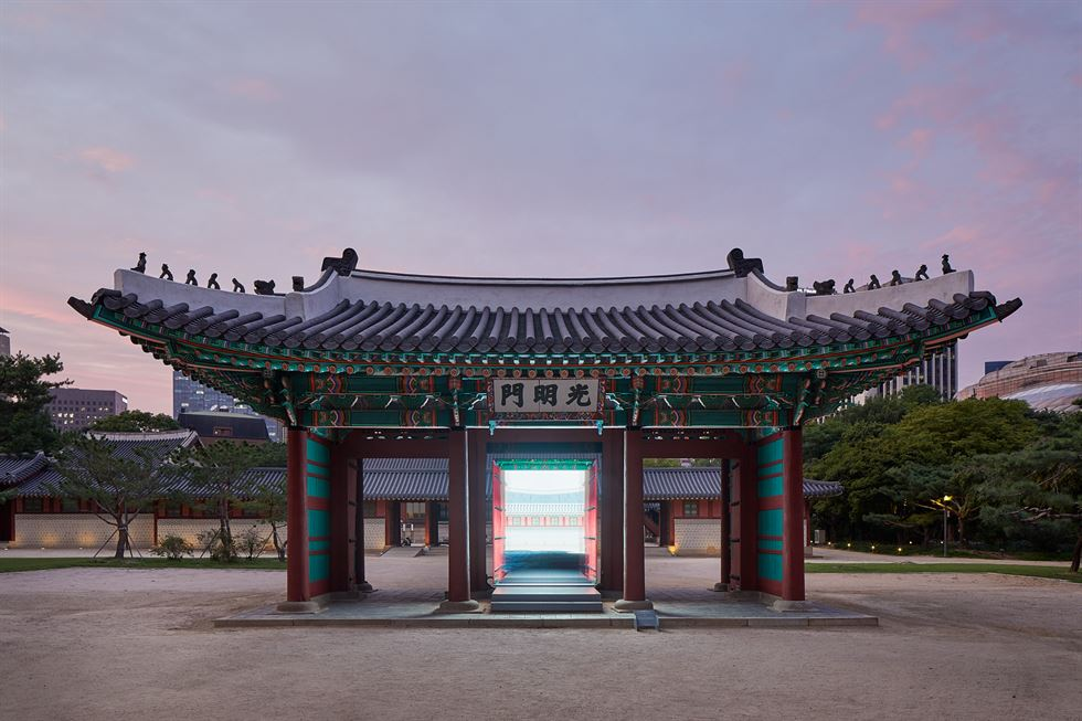 Korean architect group OBBA presents 'Daehan Yeonhyang,' a 21-century whimsical interpretation of a court feast, in front of Junghwajeon Hall of Deoksu Palace in central Seoul. This is part of 'Architecture and Heritage: Unearthing Future,' a collaborative outdoor exhibition by the National Museum of Modern and Contemporary Art, Korea and the Deoksugung Palace Management Office. Courtesy of MMCA