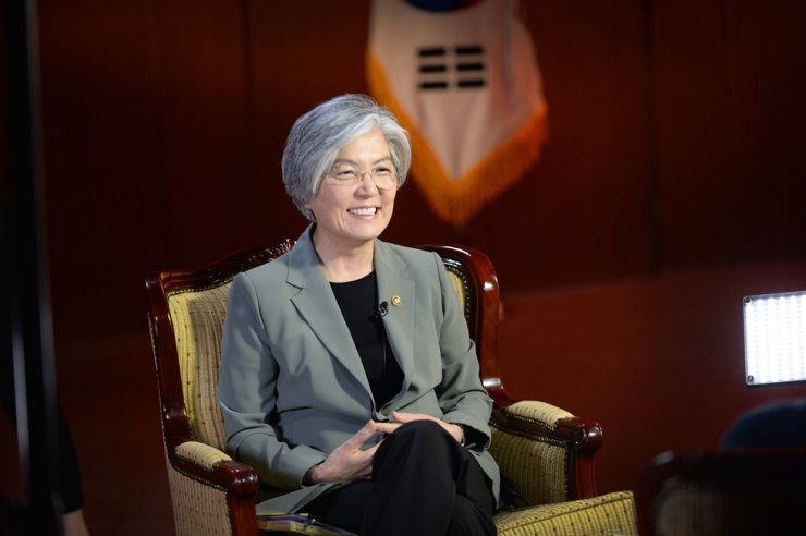 Foreign Minister Kang Kyung-wha speaks at the ministry's headquarters in downtown Seoul, Wednesday. Courtesy of Ministry of Foreign Affairs