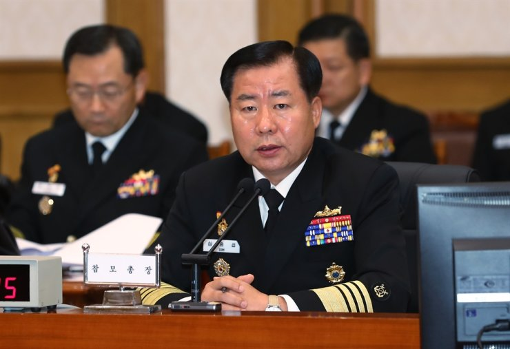 Chief of Naval Operations Adm. Sim Seung-seob answers questions from the lawmakers of the National Defense of Committee of the National Assembly, during its annual audit of the Republic of Korea Navy, held at Navy headquarters in Gyeryong, South Chungcheong Province, Thursday. Yonhap