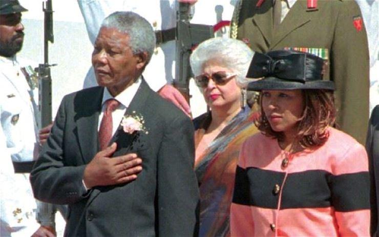 Zenani Mandela-Dlamini, right, with her father Nelson Mandela in 1997. AP