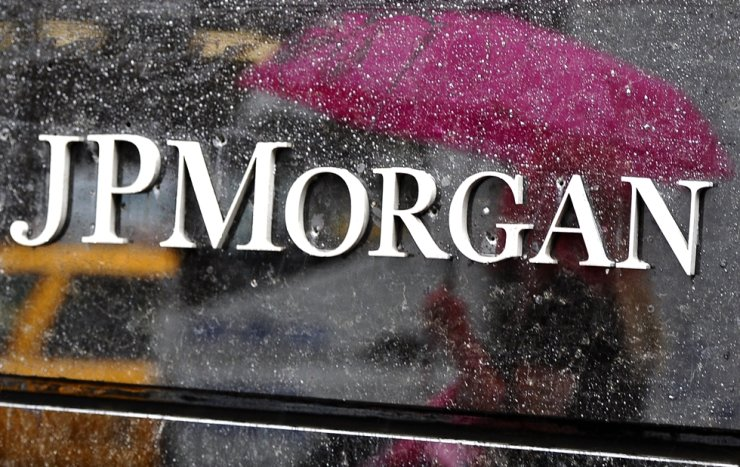 A signboard of J.P. Morgan Chase headquarters in New York / AFP-Yonhap
