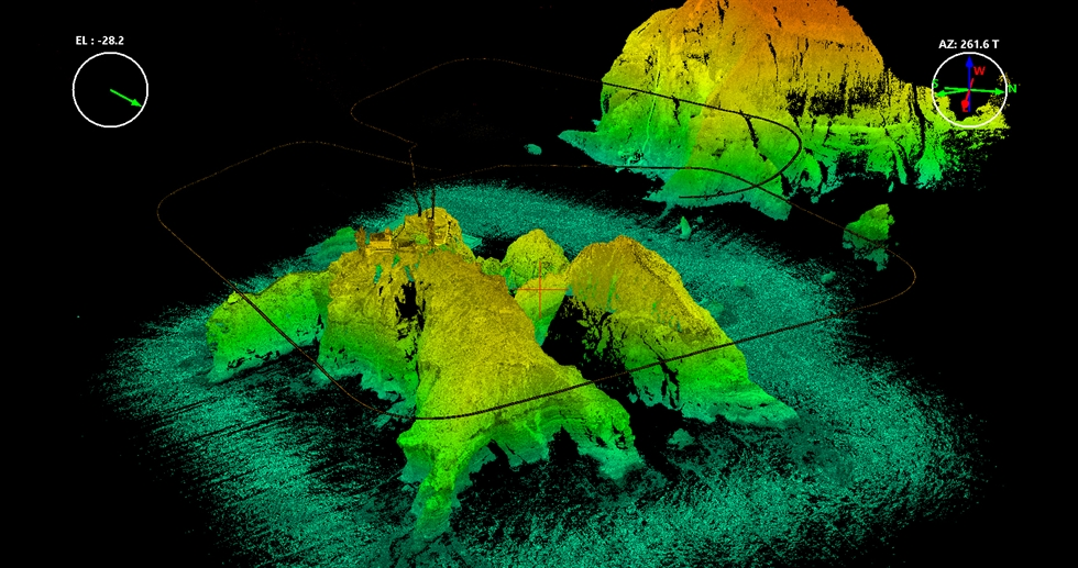 View of Dokdo Island, captured by a LiDAR (Light Detection and Ranging) equipped drone / Courtesy of National Research Institute of Cultural Heritage