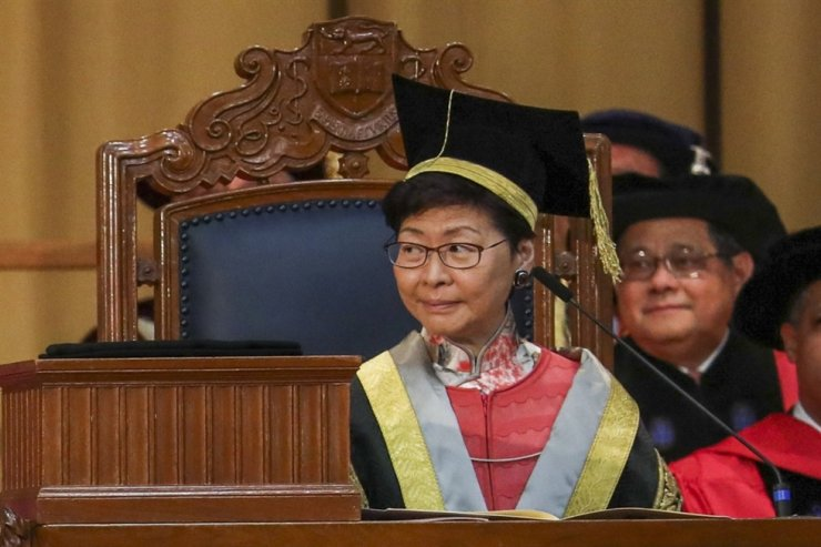 The HKU Convocation voted overwhelmingly for Carrie Lam to quit as chancellor. Photo from South China Morning Post