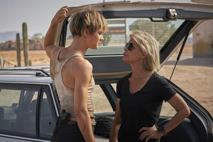 This image released by Paramount Pictures shows Mackenzie Davis, left, and Linda Hamilton in 'Terminator: Dark Fate.' AP