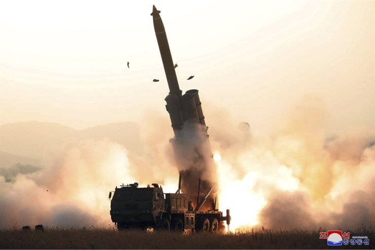 This Thursday, Oct. 31, 2019, photo provided by the North Korean government, shows what it says a test firing of a super-large rocket launcher by the Academy of Defense Science in North Korea. Independent journalists were not given access to cover the event depicted in this image distributed by the North Korean government. The content of this image is as provided and cannot be independently verified. Korean language watermark on image as provided by source reads: 'KCNA' which is the abbreviation for Korean Central News Agency. (Korean Central News Agency/Korea News Service via AP)