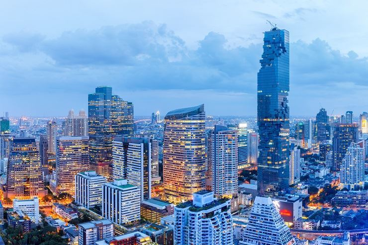 An aerial view of Bangkok financial district / gettyimagesbank