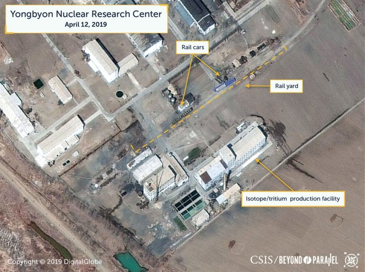 A view of what researchers of Beyond Parallel, a CSIS project, describe as specialized rail cars at the Yongbyon Nuclear Research Center in North Pyongan Province, North Korea, in this commercial satellite image taken April 12, 2019 and released April 16, 2019. Reuters-Yonhap