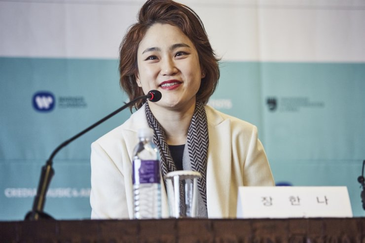 Maestro Han-Na Chang speaks during a press conference at the Plaza Hotel in central Seoul, Monday. Courtesy of CREDIA