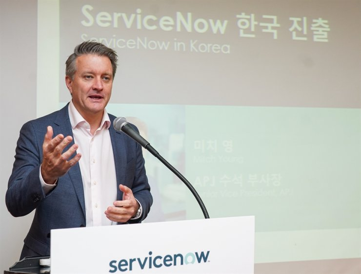 Mitch Young, ServiceNow's senior vice president for Asia-Pacific, speaks during a media conference at InterContinental Grand Seoul Parnas, Thursday. / Courtesy of ServiceNow