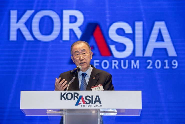 Former U.N. Secretary-General Ban Ki-moon delivers a special speech during the KOR-ASIA Forum 2019 at The Shilla Hotel Seoul in Jung-gu, Seoul, Friday. Korea Times photo by Shim Hyun-chul