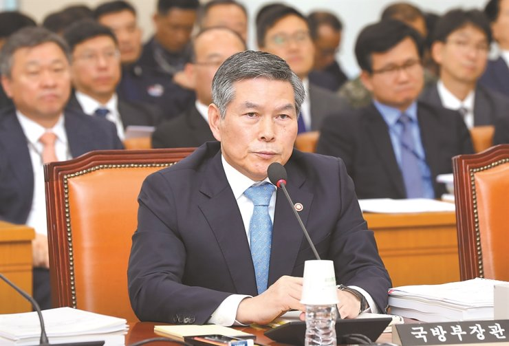 Defense Minister Jeong Kyeong-doo answers questions during a plenary meeting of the National Defense Committee at the National Assembly, Monday. Yonhap