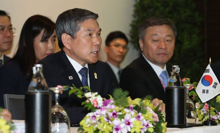 Defense Minister Jeong Kyeong-doo speaks during a trilateral meeting among South Korea, the United States and Japan, Sunday, on the sidelines of the 6th Association of Southeast Asian Nations (ASEAN) Defense Ministers' Meeting-Plus, held at the Avani Plus Riverside Hotel in Bangkok, Thailand. Yonhap