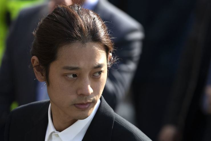 Singer Jung Joon-young at the Seoul Metropolitan Police Agency in Jongno-gu in March. Korea Times photo by Choi Won-suk