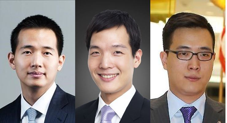 This combined photo shows the three sons of Hanwha Group Chairman Kim Seung-youn. From left, eldest to youngest, are Dong-kwan, Dong-won and Dong-seon. Korea Times file