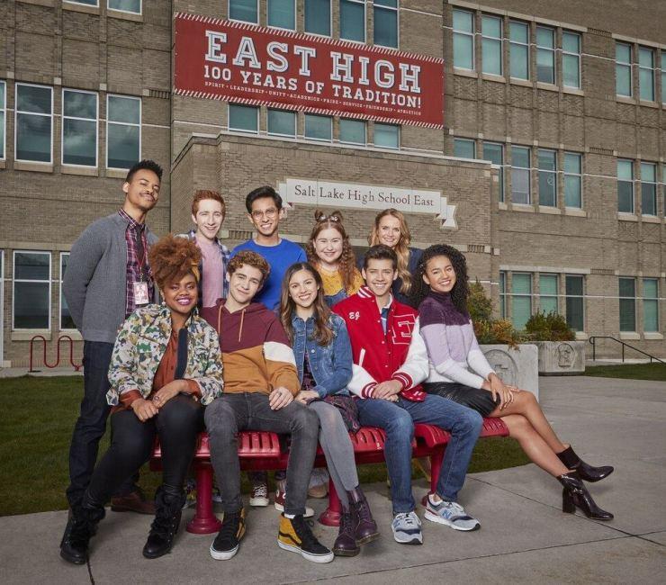 Cast of Disney+'s 'High School Musical: The Musical: The Series' in front of East High School in Salt Lake City, Utah, the U.S. Disney+