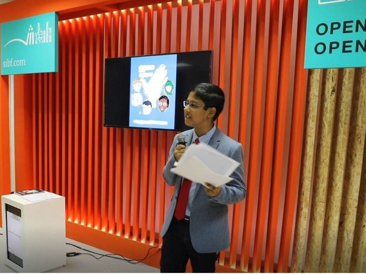 A 12-year-old guest speaker Sanith Santhasa Piyadigamage makes his speech in front of the young crowd at the Sharjah International Book Fair on Nov. 6./ Courtesy of Sanith Piyadigamage