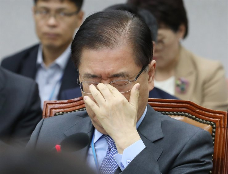 Presidential National Security Office (NSO) chief Chung Eui-yong touches his glasses at the start of this year's annual National Assembly audit of the NSO, Friday. Yonhap