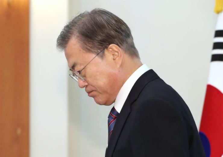 President Moon Jae-in at an event at Cheong Wa Dae, Thursday. Yonhap