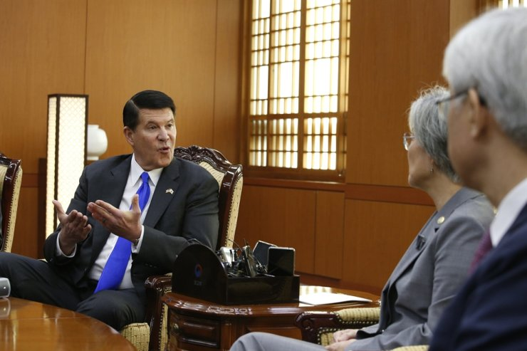 Keith Krach, left, U.S. undersecretary of State for Economic Growth, Energy and the Environment, talks with South Korea's Foreign Minister Kang Kyung-wha, second from right, during their meeting at the Foreign Ministry in Seoul, South Korea, Wednesday, Nov. 6, 2019. AP-Yonhap