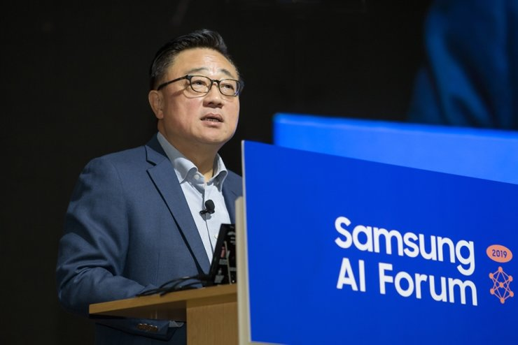 Koh Dong-jin, president of Samsung Electronics, speaks during the 2019 Samsung AI Forum at the company's R&D center in Seoul, Tuesday. / Courtesy of Samsung Electronics