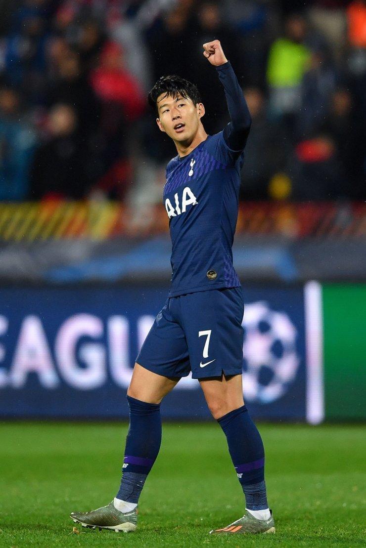 Tottenham Hotspur's South Korean striker Son Heung-Min celebrates after scoring his team's second goal. /AFP-Yonhap