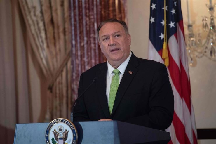 U.S. Secretary of State Mike Pompeo delivers remarks at the Secretary of State's Awards for Corporate Excellence 20th anniversary ceremony at the State Department in Washington, DC, on Oct. 31, 2019. AFP-Yonhap