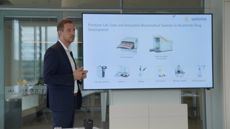 Rene Faber, head of Sartorius' Bioprocess Solutions Division, speaks during an interview with reporters at the pharmaceutical equipment supplier's headquarters in Gottingen, Germany, Nov. 4 (local time). Courtesy of Sartorius