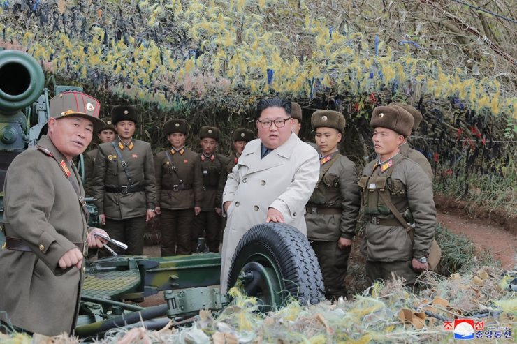 North Korean leader Kim Jong-un inspects a front-line military unit on the border islet of Changrin, according to the Korean Central News Agency, Monday. Yonhap