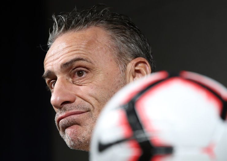 Paulo Bento, head coach of the South Korean men's football team, listens to a question during a press conference at the Korea Football Association (KFA) House in Seoul, Monday. Yonhap