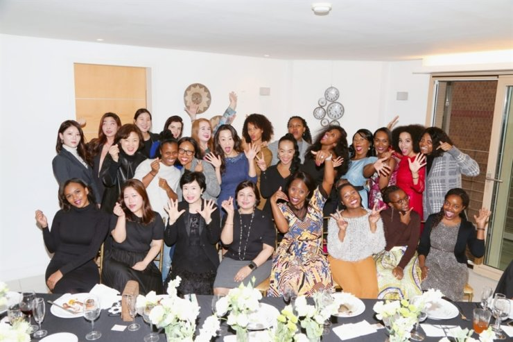 Participants pose during the third Women's Day Event, an annual gathering to discuss women's empowerment and other gender equality issues, in Hannam-dong, Seoul, Nov. 2. The event was hosted by Ndi Manzini, front row fifth from left, wife of First Secretary Raymond Manzini at the South African Embassy in Korea. The meeting was attended by various female leaders, including P&G Korea CEO Balaka Niyazee, front row fourth from left, and Seoul International Women's Association President Veronica Koon, second row fifth from left. / Embassy of South Africa