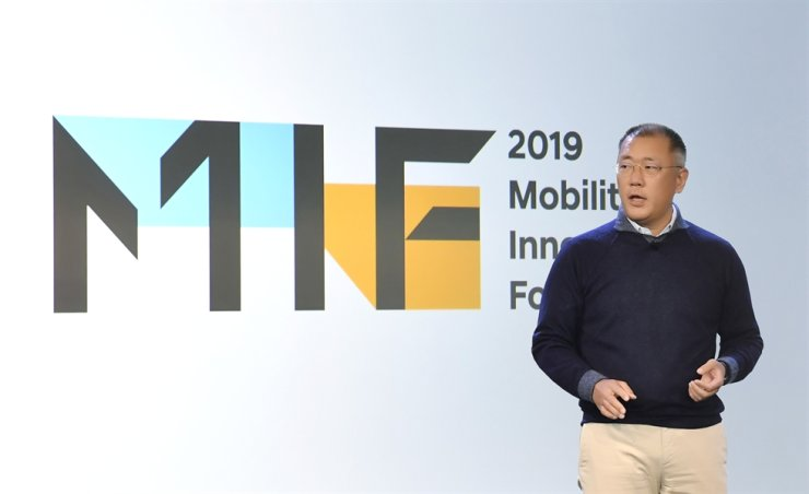 Hyundai Motor Group Executive Vice Chairman Chung Euisun speaks at the Mobility Innovators Forum (MIF) 2019 held at Pier 27 in San Francisco, Thursday. / Courtesy of Hyundai Motor Group