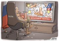 Putin watches impeachment drama