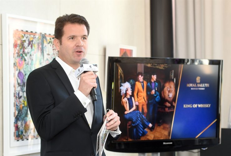 Pernod Ricard Korea Marketing Director Florent Leroi speaks during a press conference to introduce Royal Salute's collaboration with contemporary artist Kristijana S. Williams at Banyan Tree Club & Spa in Seoul, Monday. / Courtesy of Pernod Ricard Korea