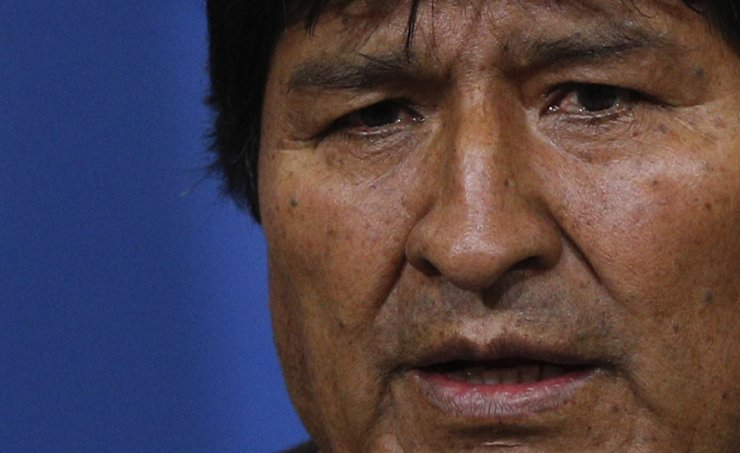 Bolivia's President Evo Morales speaks during a press conference at the military base in El Alto, in the outskirts of La Paz, Bolivia, Sunday, Nov. 10, 2019. Hours later Morales announced his resignation under mounting pressure from the military and the public after his re-election victory triggered weeks of fraud allegations and deadly protests. (AP Photo/Juan Karita)