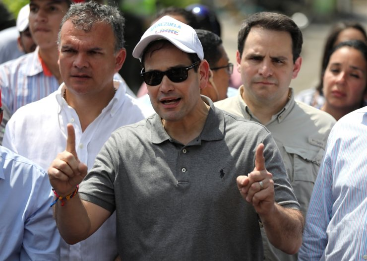 U.S. Senator Marco Rubio speaks during a news conference as he visits the Colombia-Venezuela border at the Simon Bolivar International Bridge on the outskirts of Cucuta, Colombia, Feb. 17, 2019. Reuters-Yonhap