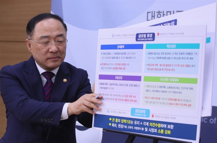 Finance Minister Hong Nam-ki gives a presentation on the government's plan to boost the economy at the Government Complex in Sejong, Nov. 11. Hong said he would map out measures to make Asia's fourth-largest economy grow at a rate of up to 2.3 percent in 2020, including ways to boost growth potential and speed up structural reform. Yonhap