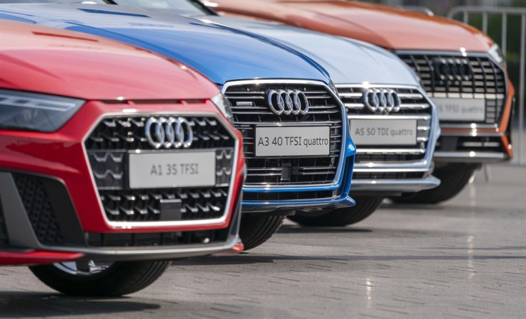 Different Audi cars seen prior to the annual General Meeting of Audi AG in Neckarsulm, Germany, in this May 23 photo. /EPA-Yonhap
