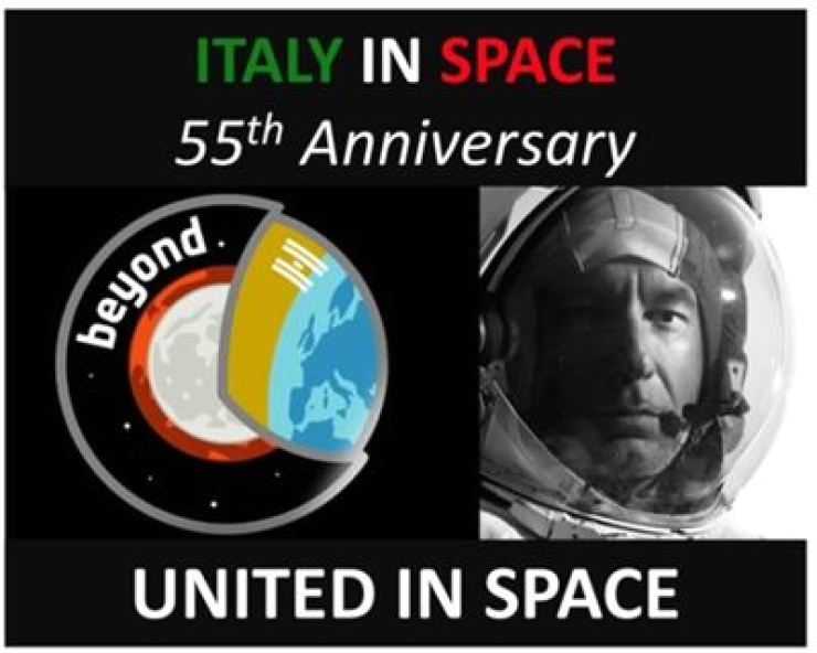 A commemorative poster for the 55th anniversary of Italy's space exploration