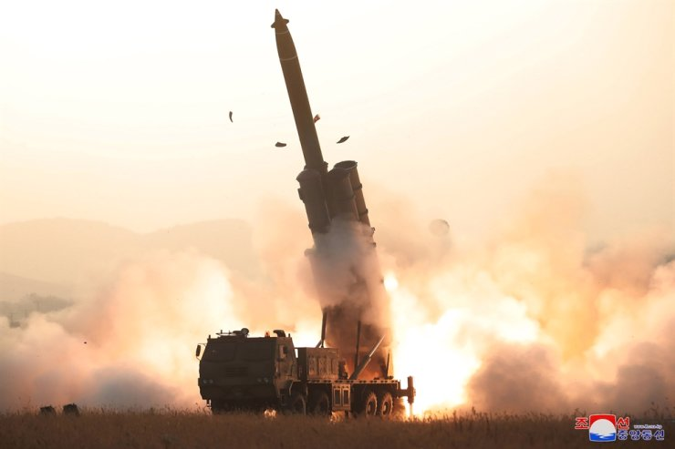 A North Korean multiple rocket launcher test-fires in this footage released by the Korea Central News Agency on Oct. 31, 2019. Yonhap
